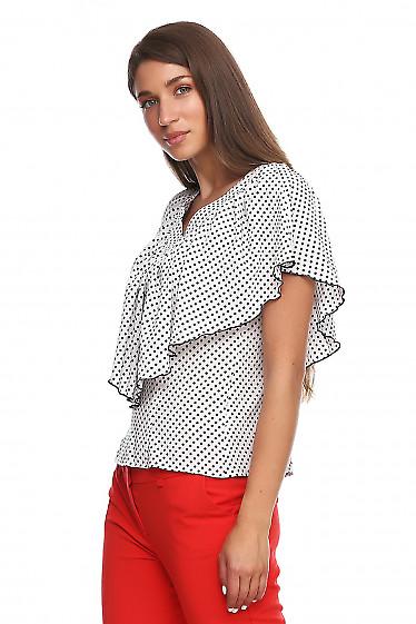 Купить блузку в горох с пелериной. Деловая женская одежда фото