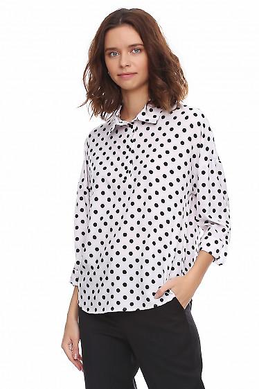 Купить блузку в черный горошек. Деловая женская одежда фото