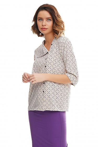 Купить блузку в серо-бежевый узор Деловая женская одежда фото