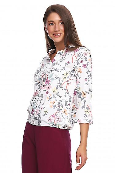 Купить блузку в серый цветок. Деловая женская одежда фото
