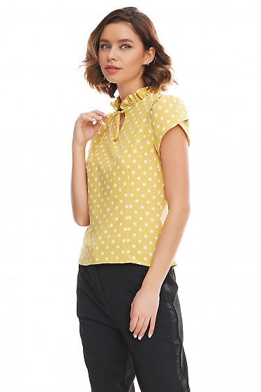 Купить блузку зеленая в горошек с рюшей Деловая женская одежда фото