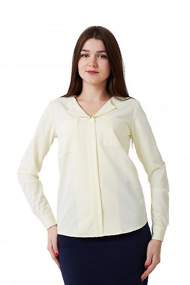 Блузка желтая с карманами на груди Деловая женская одежда фото