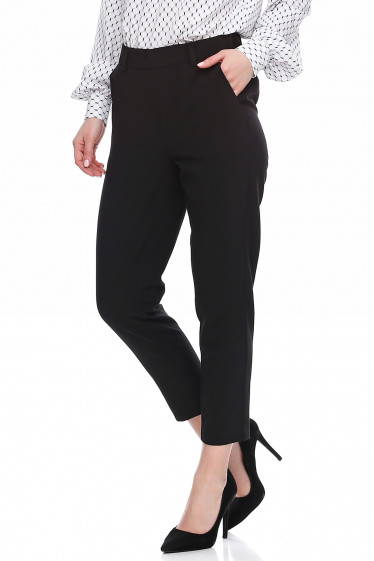 Купить брюки чёрные короткие на резинке. Деловая женская одежда фото
