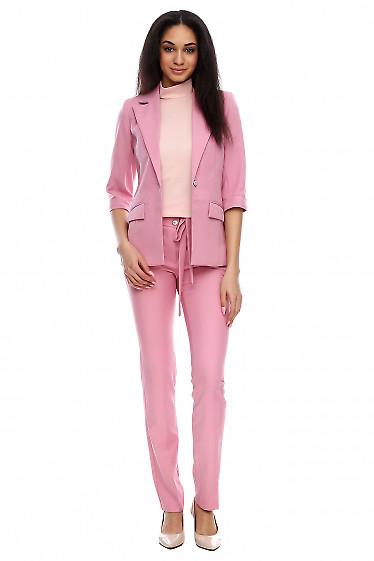 Брюки с тонким пояском розовые Деловая женская одежда фото