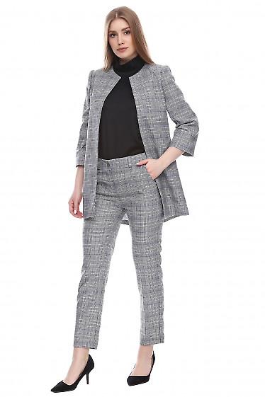 Купить брюки в мелкую черно-белую клеточку Деловая женская одежда фото