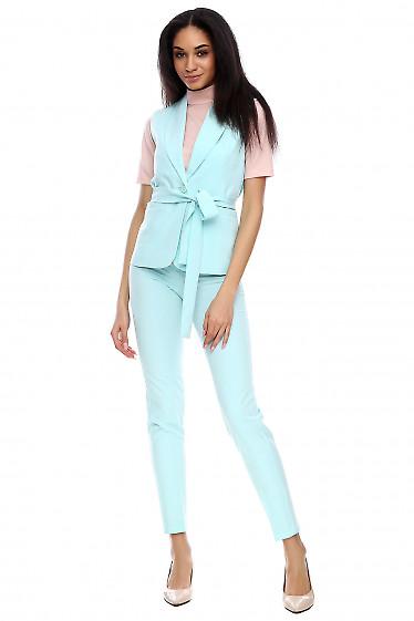 Брюки высокие мятного цвета Деловая женская одежда фото