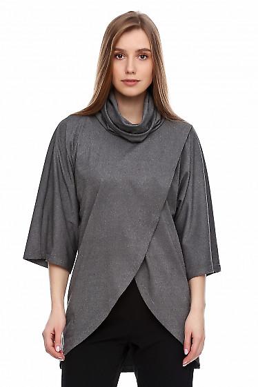 Джемпер серый с высоким воротником. Деловая женская одежда фото
