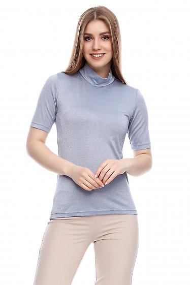 Гольф с коротким рукавом блестящий серый Деловая женская одежда фото