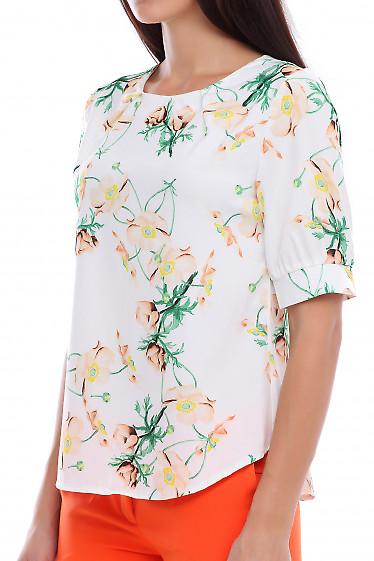 Купить блузку в бежевый цветок. Деловая женская одежда фото