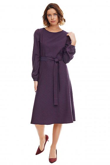 Купить платье-трапеция синее в мелкую клетку. Деловая женская одежда фото