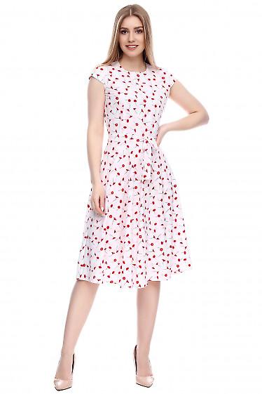 Платье белое в красные маки Деловая женская одежда фото