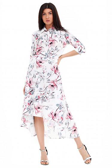 Платье белое в розовые лилии Деловая женская одежда фото