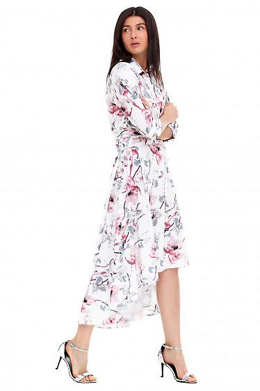 Купить платье белое в розовые лилии. Деловая женская одежда фото