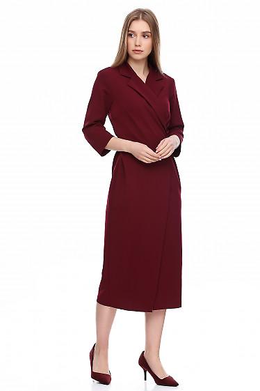 Купить платье бордовое приталенное на запах. Деловая женская одежда фото