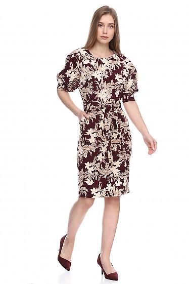 Купить платье бордовое в белые лилии. Деловая женская одежда фото
