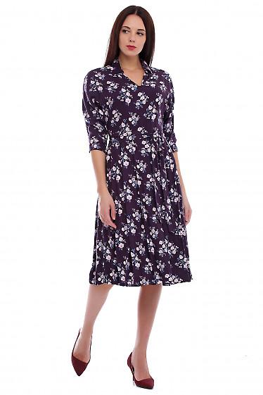Купить платье бордовое в розовый цветок. Деловая женская одежда фото