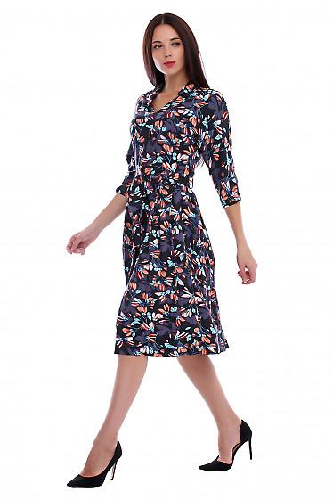 Купить платье черное в крупные цветы. Деловая женская одежда фото