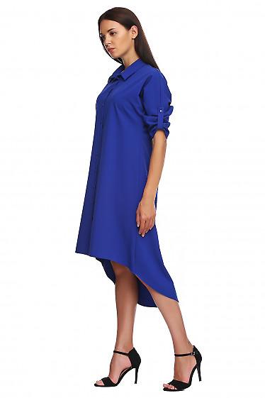 Купить платье электрик с неровным низом. Деловая женская одежда фото