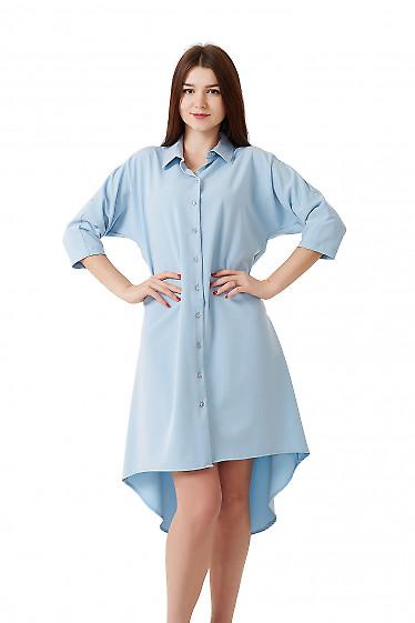 Купить платье голубое с удлиненной спинкой. Деловая женская одежда фото