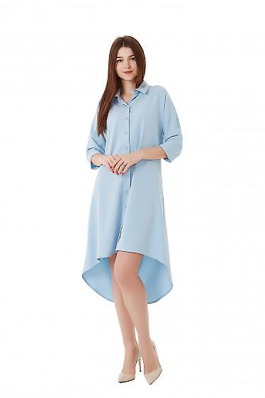 Платье голубое с удлиненной спинкой. Деловая женская одежда фото