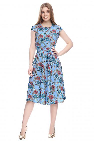 Платье голубое в цветы Деловая женская одежда фото