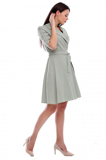 Купить платье хаки на запах. Деловая женская одежда фото