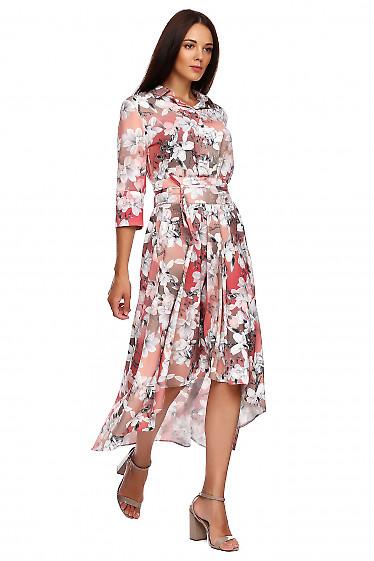 Купить коралловое в лилии платье. Деловая женская одежда фото
