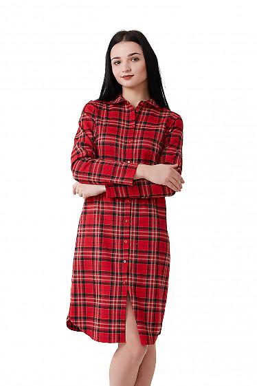 Платье красное с бежевой клеткой Деловая женская одежда фото