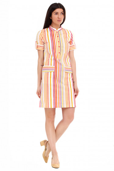 Купить платье летнее в яркую полоску. Деловая женская одежда фото