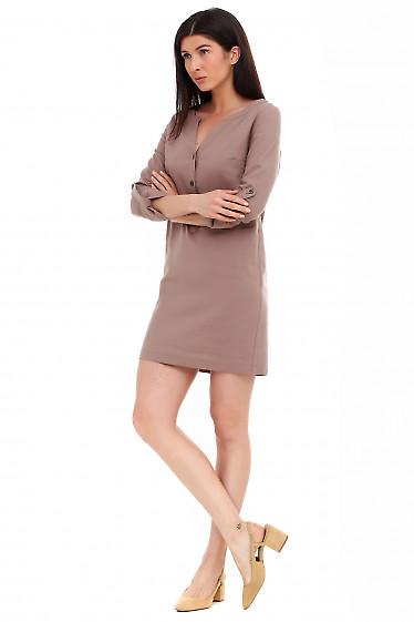 Купить платье льняное коричневое. Деловая женская одежда фото