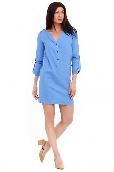 Купить платье льняное ярко-синее. Деловая женская одежда фото