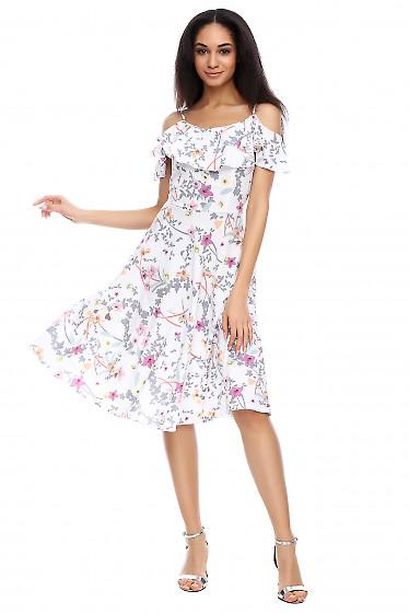 Платье с воланом на груди Деловая женская одежда фото