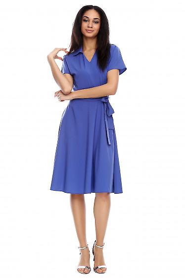 Платье пышное летнее синее Деловая женская одежда фото