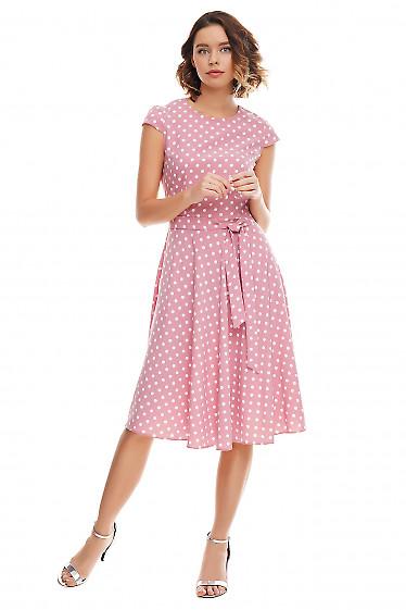 Платье пышное розовое в белый горох Деловая женская одежда фото