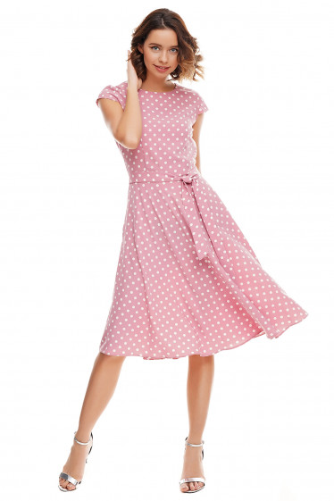 Купить платье пышное розовое в белый горох Деловая женская одежда фото