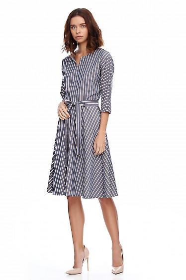 Купить платье пышное в серую полоску. Деловая женская одежда фото