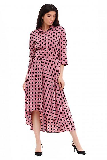 Платье розовое в чёрный горох. Деловая женская одежда фото