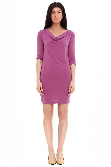 Платье с качелькой розовое из микромасла. Деловая женская одежда фото
