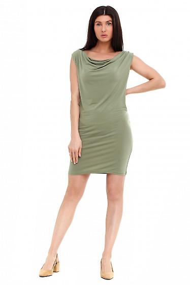 Купить платье с качелькой зеленое. Деловая женская одежда фото