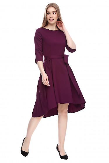 Платье с неровным низом темно-сиреневое Деловая женская одежда фото