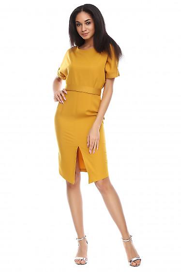 Платье с рукавом летучая мышь горчичное Деловая женская одежда фото