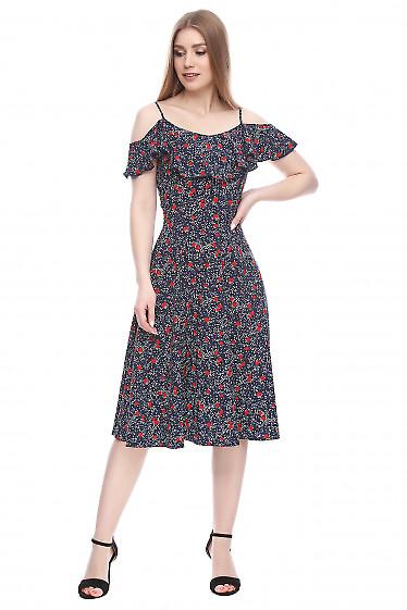 Платье с рюшью темно-синее в цветочки Деловая женская одежда фото