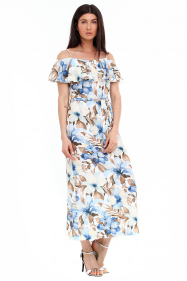 Купить платье с воланом в крупный цветок. Деловая женская одежда фото
