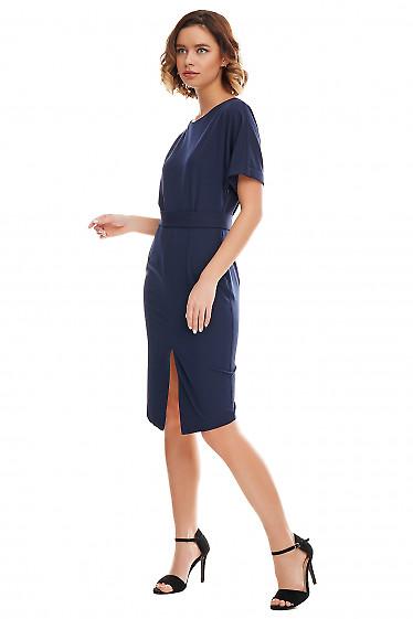 Купить платье синее с асимметричным низом. Деловая женская одежда фото