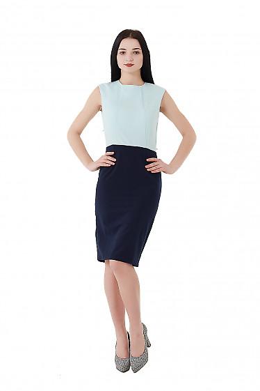 Купить платье синее с бирюзовым верхом. Деловая женская одежда фото