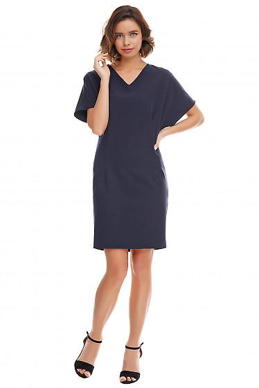 Купить платье синее с защипами по бокам Деловая женская одежда фото