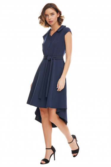Платье синее с удлиненной спинкой Деловая женская одежда фото