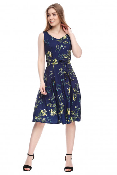 Платье синее в желтые цветы Деловая женская одежда фото