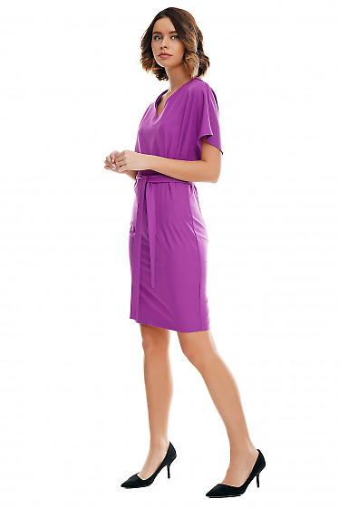 Купить платье сиреневое с двумя защипами по бокам Деловая женская одежда фото