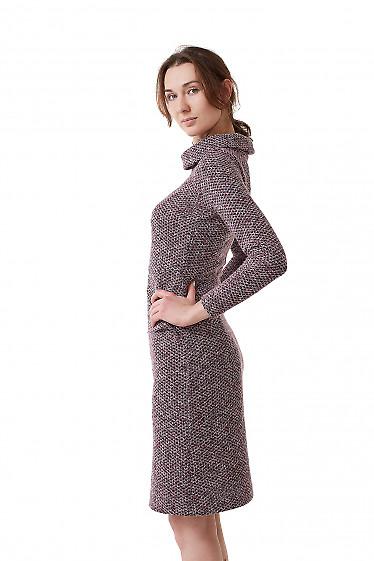 Купить платье сиреневое с карманами и воротом Деловая женская одежда фото